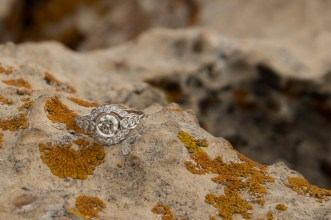 classic and unique engagement ring at the canyon