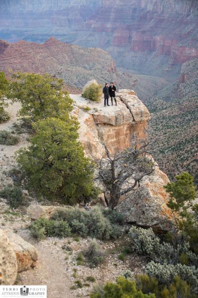 On the edge of Grand Canyon, LBGT Grand Canyon Wedding Proposal