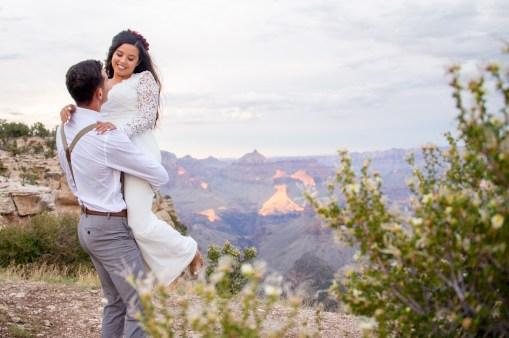 7.27.17 Kathleen and Gabriel Yavapai Point and Duck on a Rock Rock Grand Canyon South Rim Monsoon Season photography by Terri Attridge-132