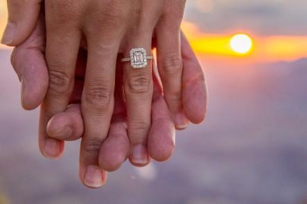diamond ring in grand canyon sunset shot