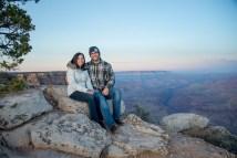 Couple at sunrise after surprise engagement