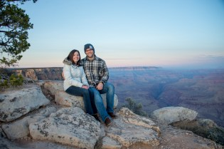 Couple at sunrise after surprise engagement