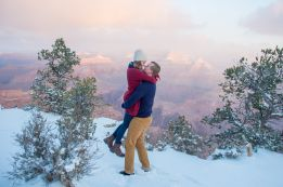 Happy couple gets engaged at Grand Canyon