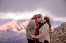 The clouds opened up for just a minute to get this engagement photo where the canyon was visible
