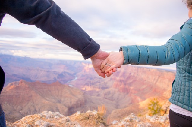 The engagement ring with Grand Canyon backdrop