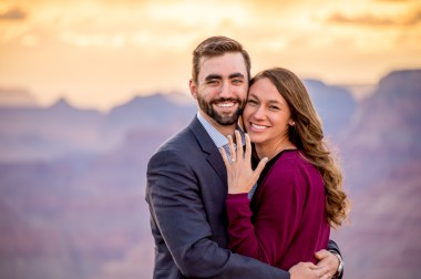 Happy Newlywed Engaged Couple at Grand Canyon