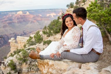 7.27.17 LARGE Kathleen and Gabriel Yavapai Point and Duck on a Rock Rock Grand Canyon South Rim Monsoon Season photography by Terri Attridge-177