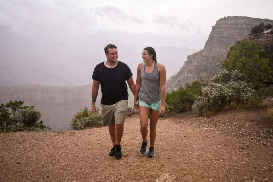 strolling in the rain at the South Rim