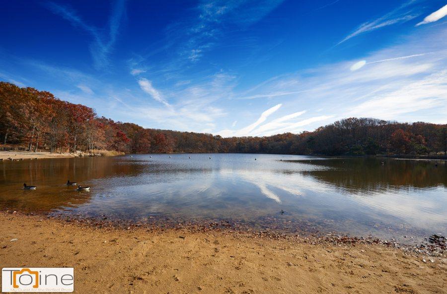 Hooks Creek Lake at Cheesequake State Park. I love the sky!