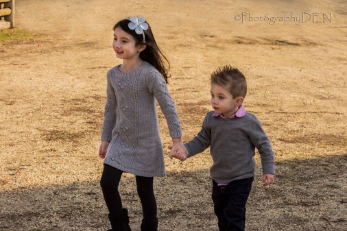 Damon and Ava wakling holding hands