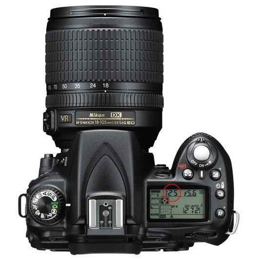 Nikon D90 Top Panel - Shutter Speed