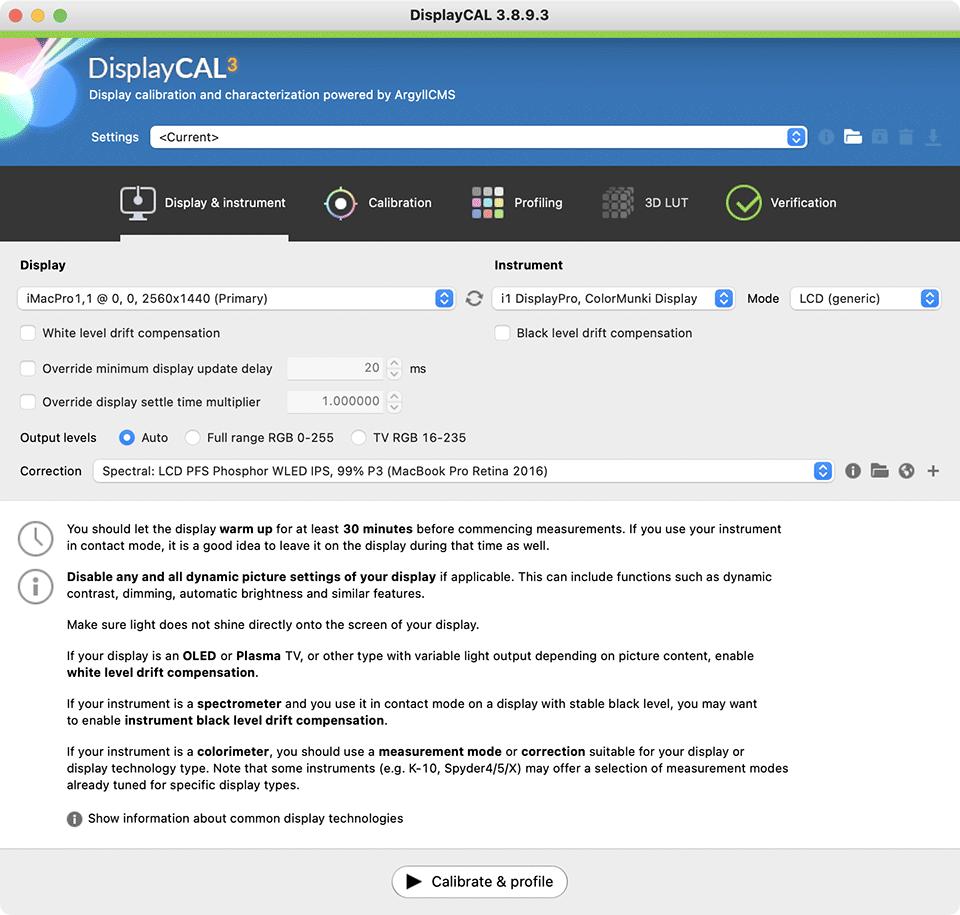 DisplayCAL iMac Correction