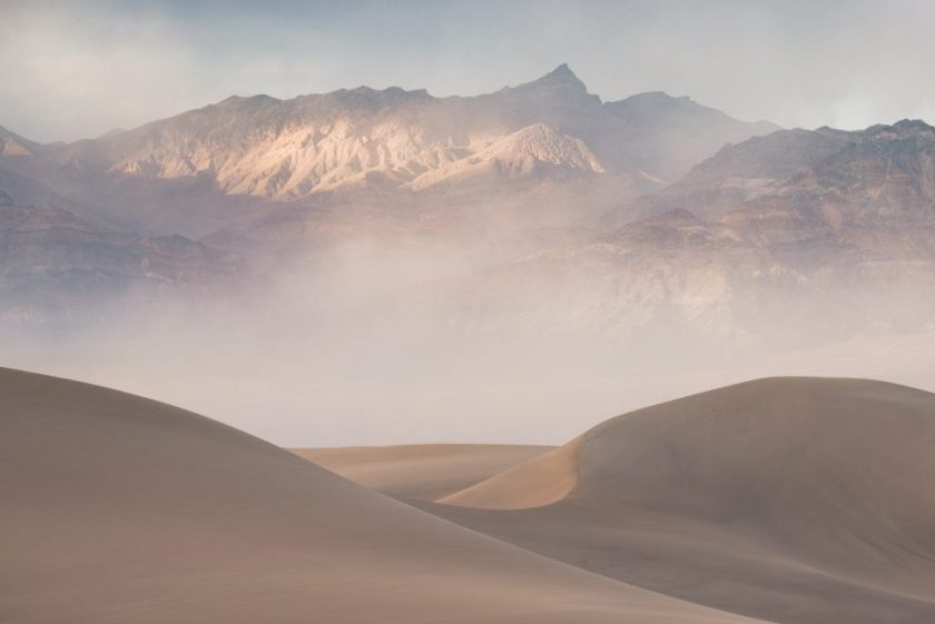 Dusty Evening in Mesquite Sand Dunes Death Valley