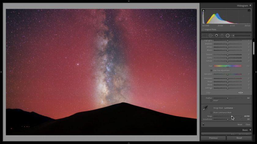 Inverted Radial Gradient Filter in Lightroom for Darkening the Sky Astrophotography