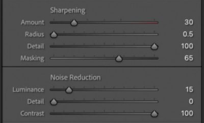 Sharpening and Noise Reduction settings in Lightroom