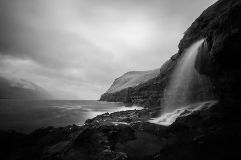 Black and White Waterfall Landscape with ND Filter