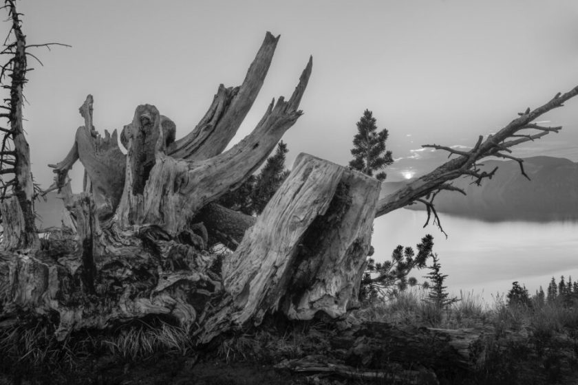 Black and White Landscape photo at Crater Lake