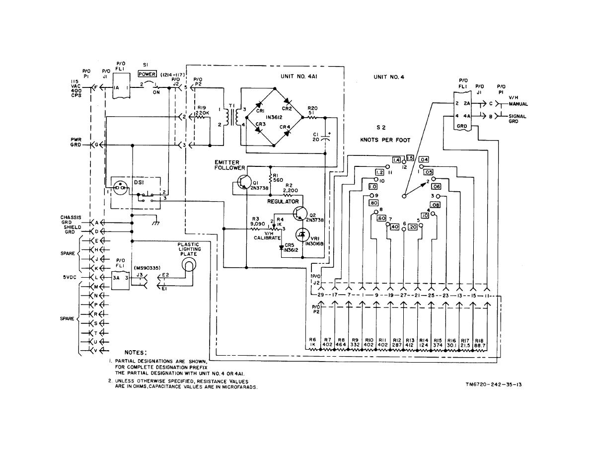 Figure 6-1. V/H control panel, schematic diagram.