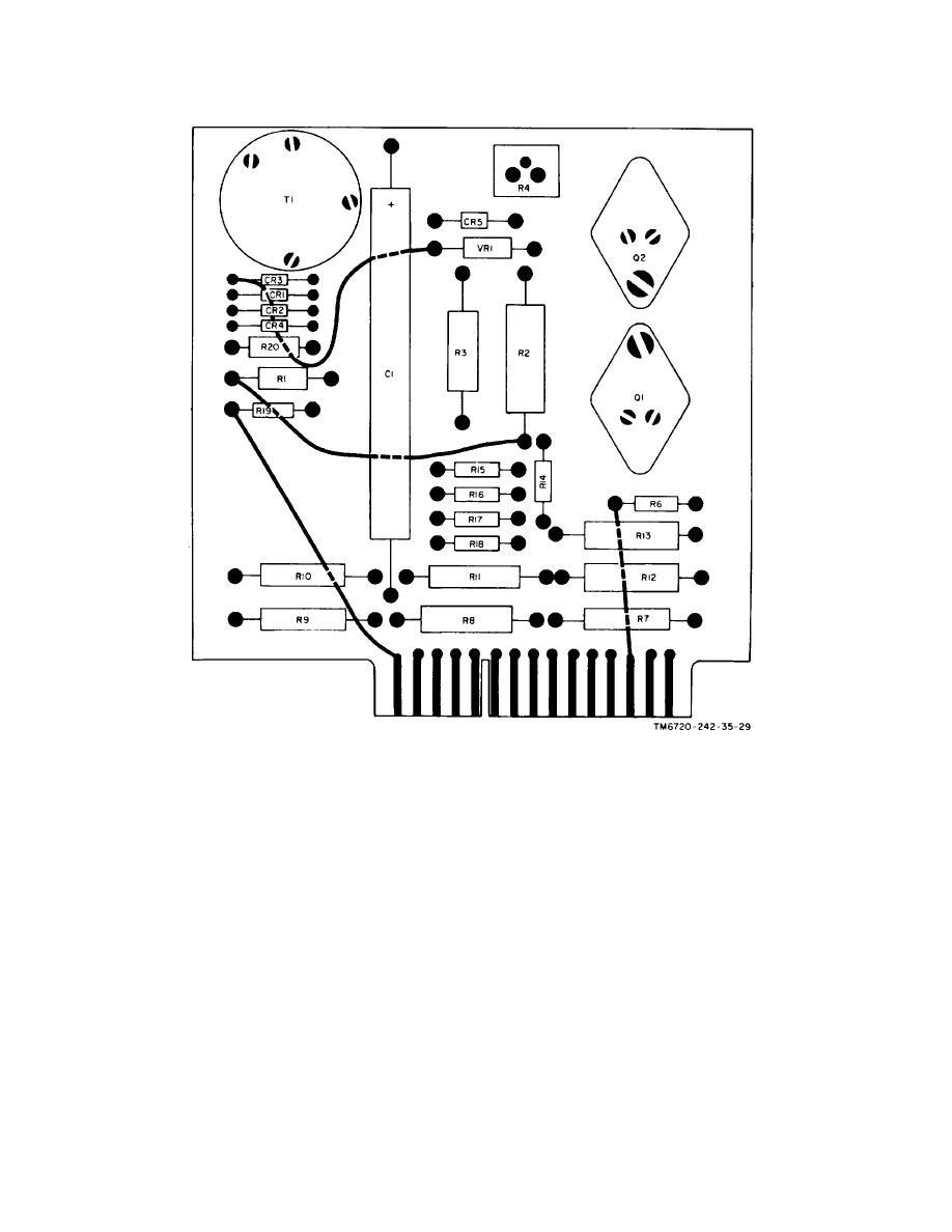 Figure 6-3. V/H board assembly wiring diagram, front view.