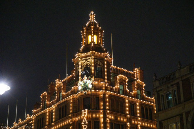 Detail of Harrods at night