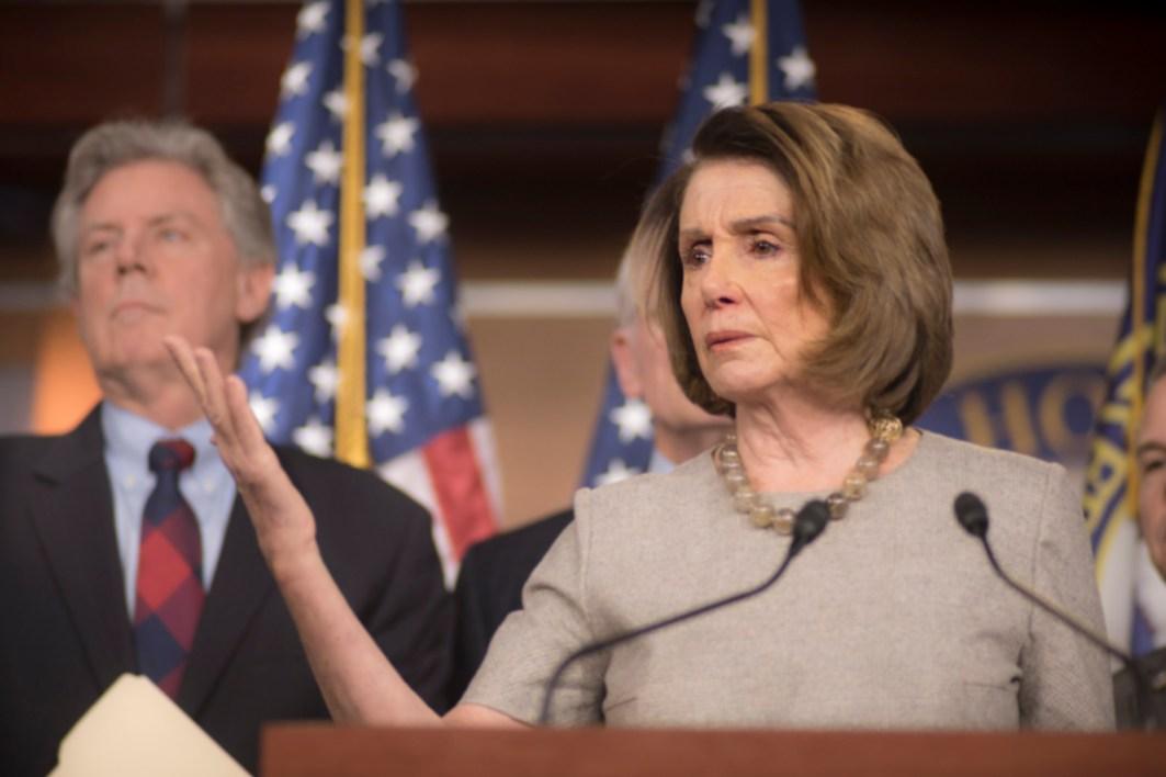 Rep. Nancy Pelosi (D-Calif.) speaks on Feb 8, 2018, a day after her historic 8 hour speech on the House floor, (Photo Doug Christian/TMN)