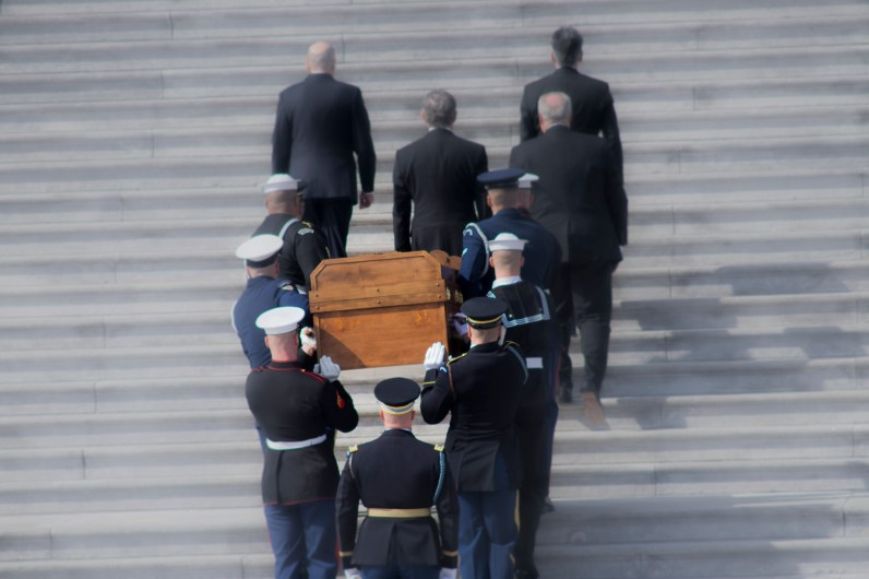 Rev Billy Graham's casket carried up the Capitol steps so that is body may lie in honor Feb 28, 2018, Photo © 2018 Doug Christian