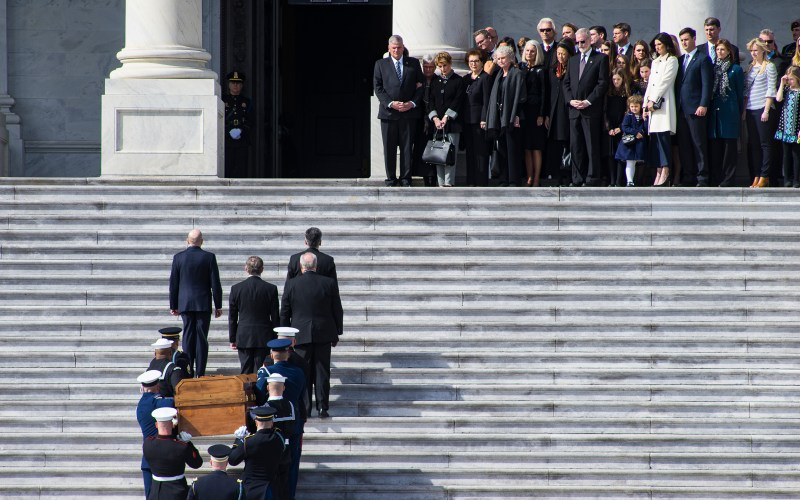 Rev Billy Graham's casket arrives to the Capitol to lie in honor