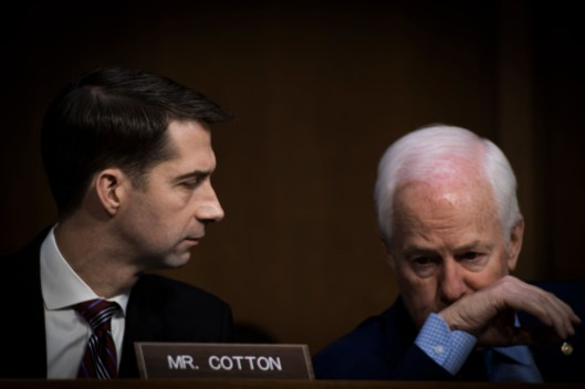 Sen John Cornyn and Sen Tom Cotton at the Worldwide Threats Assessment Senate briefing Feb 13, 2018