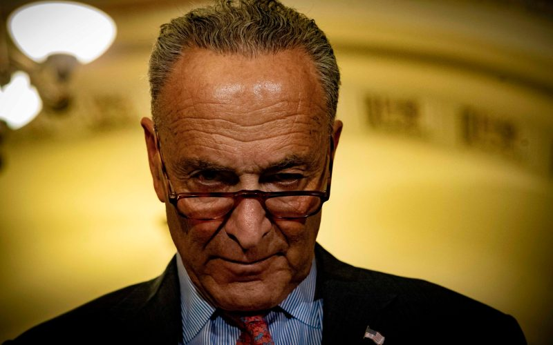 Senate Minority Leader Chuck Schumer (D-N.Y.) at the Tuesday briefing, July 17, 2018