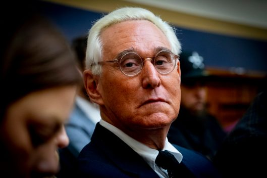 ROGER STONE looks on from the audience as the CEO of Google, SUNDAR PICHAI, testifies before the House Judiciary Committee on Transparency & Accountability and Examining Google and its Data Collection, Use and Filtering Practices