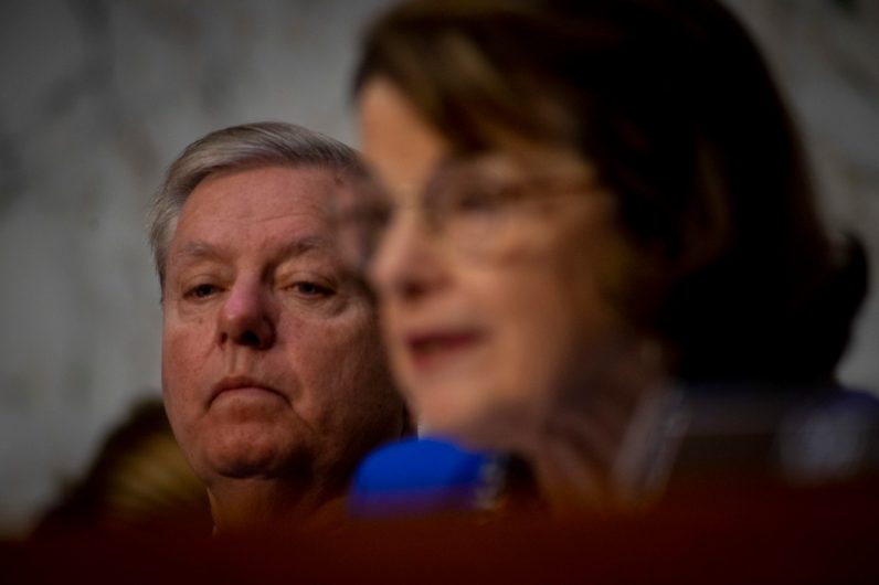 Senate Judiciary Committee Chairman LINDSEY GRAHAM (R-SC) and Ranking Member of the Senate Judiciary Committee, DIANNE FEINSTEIN (D-CA), at WILLIAM BARR's confirmation hearing to become Attorney General of the United States, January 15, 2019