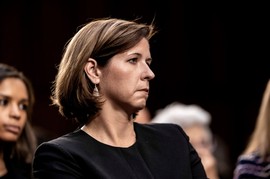 ASHLEY ESTES KAVANAUGH, wife of Judge BRETT KAVANAUGH with him during his Senate confirmation hearing for the Supreme Court, September 5, 2018