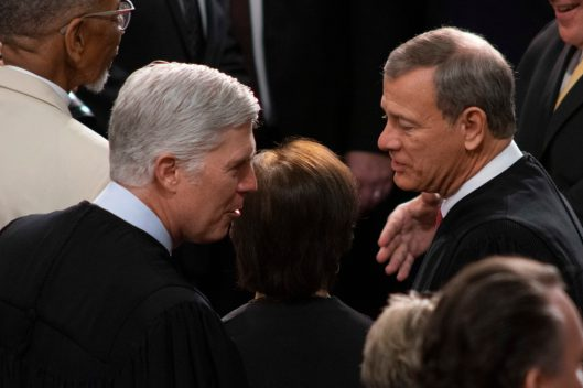 Supreme Court Justices NEIL GORSUCH, BRETT KAVANAUGH and ELENA KAGAN with back to camera at the State of the Union address, February 5, 2019