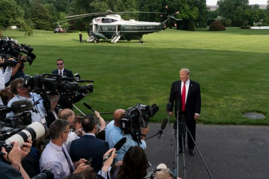 President Donald Trump, before departing on Marine One on his first leg of a MAGA rally in Montoursville, Pennsylvania, May 20, 2019, (Photo ©2019 Doug Christian)