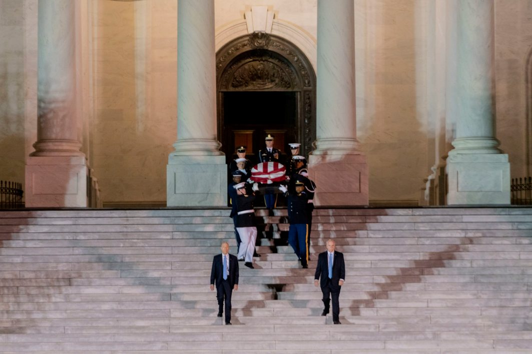 Former Chairman of the House Oversight Committee ELIJAH CUMMINGS' (D-MD) casket is carried out of the Capitol Building after lying in state before his funeral in Maryland, October 24, 2019