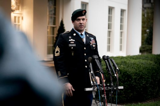 Army Master Sgt. MATTHEW WILLIAMS, of Boerne, Texas, speaks to the press outside of the West Wing after President DONALD TRUMP awarded him the Medal of Honor, the nation's highest military honor, for his heroic actions while serving in Afghanistan's Shok Valley in 2008. Oct. 30, 2019