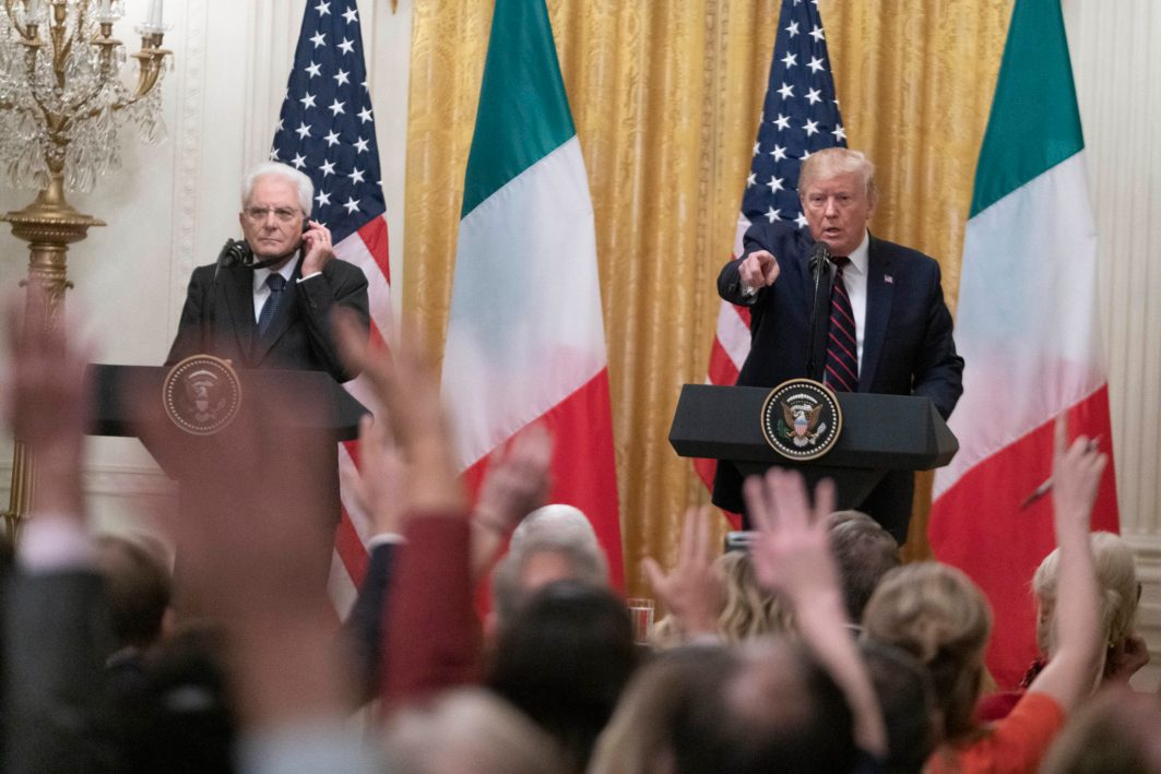 "President Donald Trump welcomes President of the Italian Republic Sergio Mattarella to The White House, Oct. 16, 2019. When asked by a reporter about Turkey's onslaught against the Kurds, Trump replied, ""They're not angels. They're not angels. Take a look. You have to go back and take a look."" Of the situation in Syria, Trump added,""That has nothing to do with us,"" Mr. Trump said. ""They've got a lot of sand over there ... There's a lot of sand they can play with."""