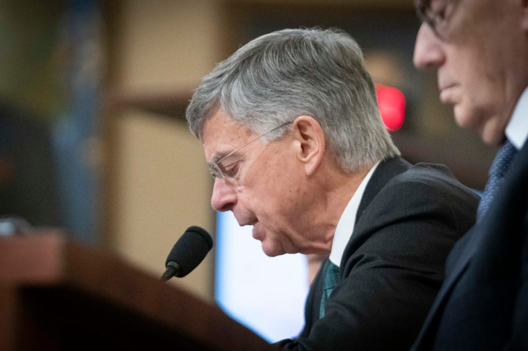 WILLIAM TAYLOR, former Ambassador of the United States to Ukraine, testifies before the House Intelligence Committee on the first day of public impeachment hearings against President Donald Trump, November 13, 2019