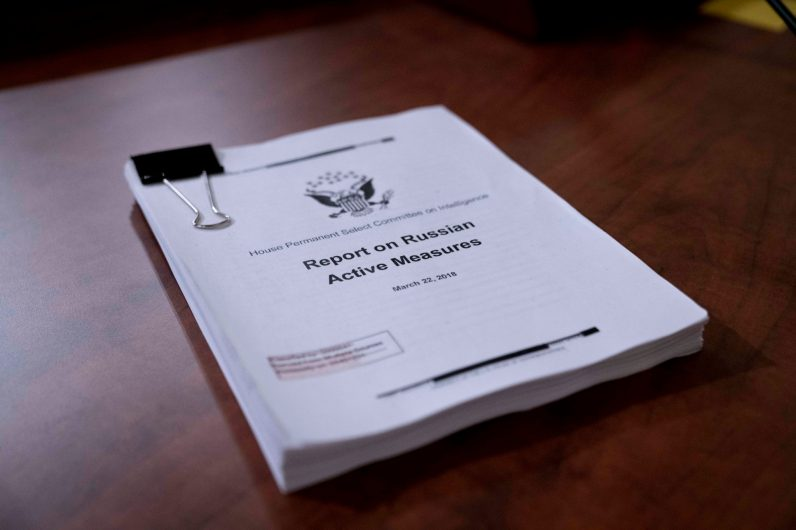 Report on Russian Active Measures by the House Intelligence Committee, dated March 22, 2018, introduced in his introductory remarks by Ranking Member Devin Nunes (R-CA) as proof then Republican-led majority, who authored the report, was not in denial over Russian interference in the 2016 presidential election. The report was left on the witness desk for use by Dr. Fiona Hill and David Holmes when they testified before the committee, November 21, 2019