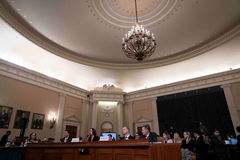 """Former national-security official Dr. FIONA HILL and U.S. diplomat DAVID HOLMES, testify before the House Intelligence Committee. Hill warned lawmakers against promoting a """"fictional narrative"""" that Ukraine interfered in the 2016 U.S. elections. She called such a theory Russian propaganda. Hill and Holmes said they were """"shocked,"""" """"saddened,"""" and """"disappointed"""" after they read a summary of Trump's July 25 call with Ukrainian President Volodymyr Zelensky, during which Trump pressured Zelensky to investigate former Vice President Joe Biden, and they also forcefully defended Ambassador Masha Yovanovitch's record and said Rudy Giuliani's """"smear campaign"""" against her was """"shameful."""" November 21, 2019"""