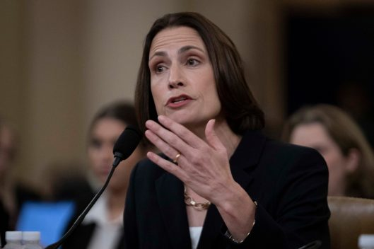"""Former national-security official Dr. FIONA HILL testifies before the House Intelligence Committee. Hill warned lawmakers against promoting a """"fictional narrative"""" that Ukraine interfered in the 2016 U.S. elections. She called such a theory Russian propaganda. November 21, 2019"""