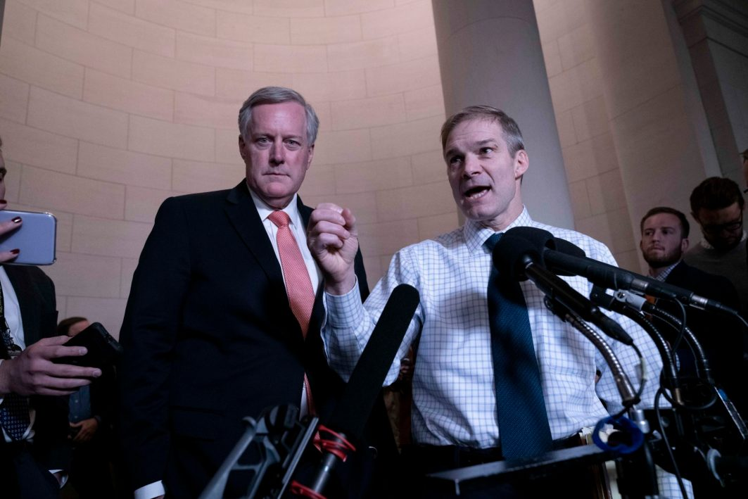 Republican Representatives MARK MEADOWS (R-NC) and JIM JORDON (R-OH) hold a press conference in the lobby of the Longworth Office Building after the House Intelligence Impeachment Hearing featuring the testimony of former national-security official Dr. Fiona Hill and U.S. diplomat David Holmes. November 21, 2019