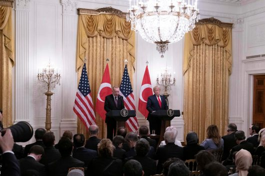 President DONALD TRUMP welcomes Turkish President RECEP TAYYIP ERDOĞAN to The White House, November 13, 2019. TRUMP and ERDOGAN met for several hours in the Oval Office with some members of Congress to discuss Turkey's decision earlier this year to accept delivery of a Russian air defense system that poses such a threat to NATO security. As a result, the U.S. suspended sales to Turkey of F-35 fighter jets. In addition, Turkey has come under fire on Capitol Hill for its incursion into Syria last month when it attacked the Kurdish forces who had fought with the U.S. against the Islamic State (ISIS).