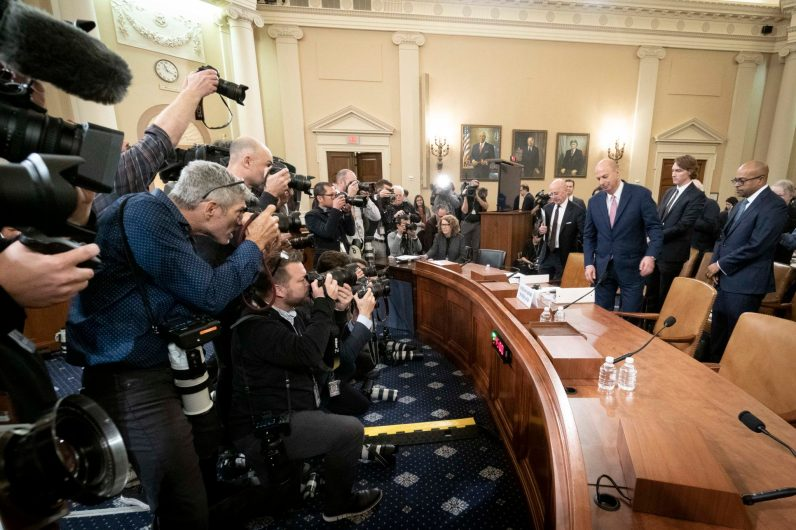 Ambassador GORDON SONDLAND enters the expansive hearing Ways and Means Committee hearing room in the Longworth Office Building as a scrum of photographers wait for him before he testifies before the House Intelligence Committee, November 20, 2019