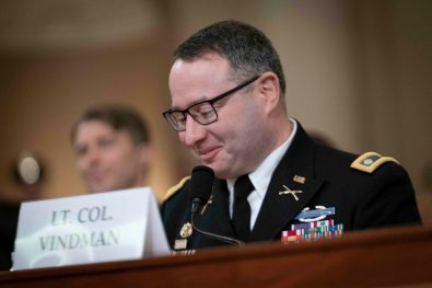 LTC ALEXANDER VINDMAN, Director for European Affairs for the NSC, enjoys a light moment during his testimony before the House Intelligence Committee, November 19, 2019
