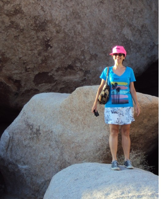 Here I am standing on boulders at Joshua Tree.