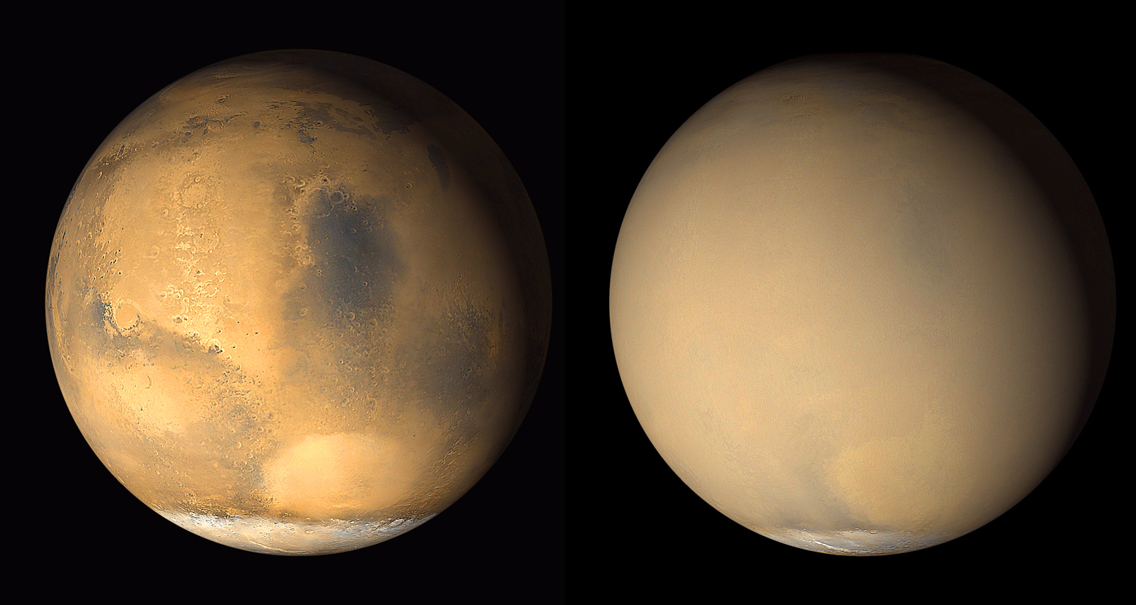 Two 2001 images from the Mars Orbiter Camera on NASA's Mars Global Surveyor orbiter show a dramatic change in the planet's appearance when haze raised by dust-storm activity in the south became globally distributed. The images were taken about a month apart. Image credit: NASA/JPL-Caltech/MSSS