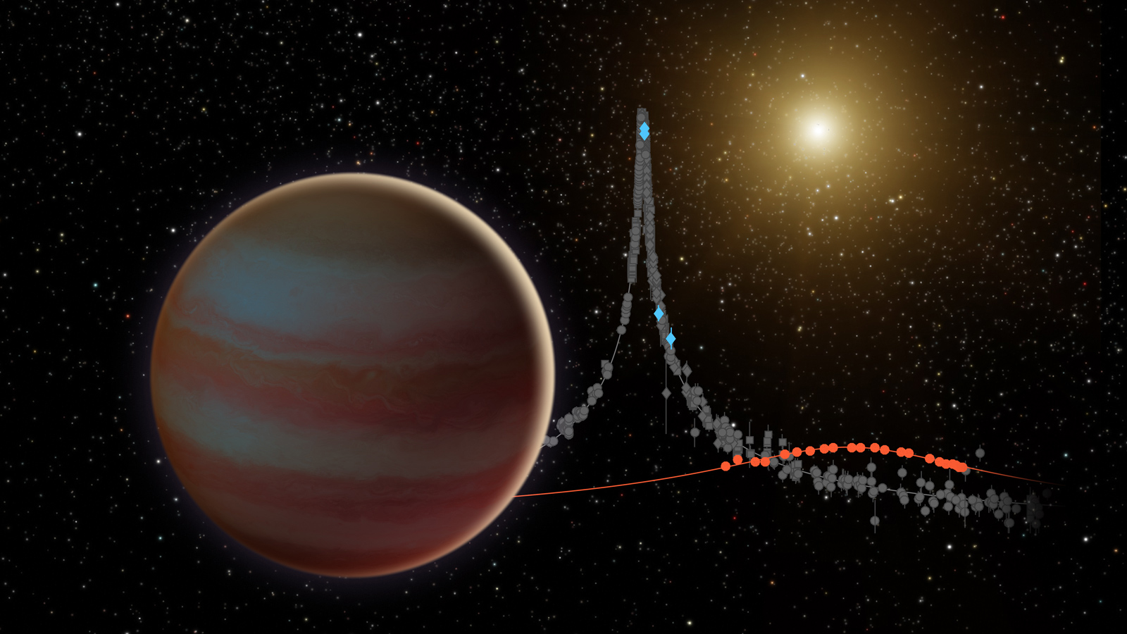 This illustration depicts a newly discovered brown dwarf, an object that weighs in somewhere between our solar system's most massive planet (Jupiter) and the least-massive-known star. This brown dwarf, dubbed OGLE-2015-BLG-1319, interests astronomers because it may fall in the