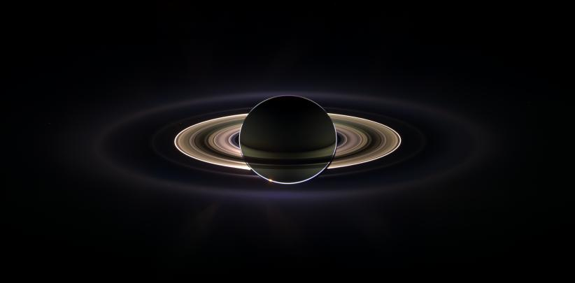 Saturn eclipses the sun, as seen by Cassini.
