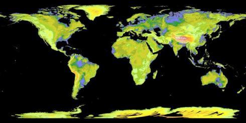Carte précise des différentes élévation sur Terre